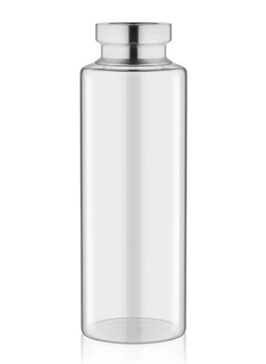 The Mia Cam Vazo Şeffaf Metal Dekorlu 30*10 Cm Renksiz